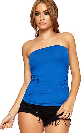 WearAll Womens Strapless Ruched Boob Tube Ladies Sleeveless Plain Bandeau Top - Royal Blue - 12-14