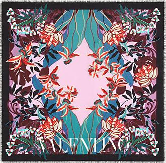 Valentino Garavani Valentino Garavani Silk And Wool Shawl With Mirrored Orchid Print 140x140 Cm / 55x55 In. Women Pink Wool 70%, Silk 30% OneSize