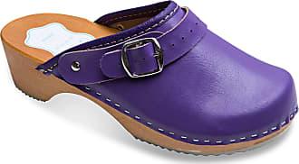 FUTURO FASHION Womens Healthy Natural Genuine Leather Wooden Sole Plain Clogs Unisex Colours Sizes 3-8 UK Lilac