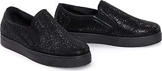 Shelikes Womens Ladies Slip On Diamante Detail Embellished Studded Trainers Size [Black/Black, 4 UK]