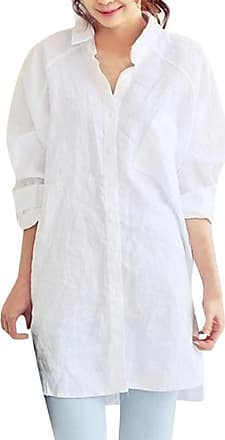 FNKDOR Autumn Fashion Womens Office Shift Suit Solid Pocket Loose Plus Size Casual Button Dating Hiking Tops Blouse Shirt(White,UK-26/CN-XL)
