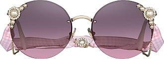 Miu Miu Eyewear Óculos de sol redondo Limited Edition - Dourado