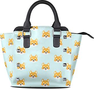 NaiiaN Tote Bag Shoulder Bags Handbags for Women Girls Ladies Student Purse Shopping Light Weight Strap Leather Sweet Shiba Inu Dog Cute Animal Shepherd