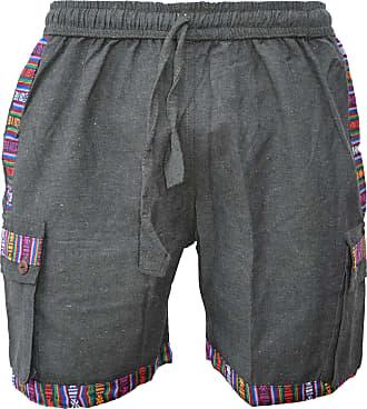 Gheri Mens Cotton Edge Nepalese Shorts Hippie Boho Green X-Large