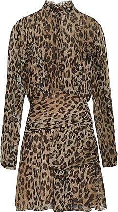 f3b9c89621fc Nicholas Nicholas Woman Ruffled Leopard-print Silk-georgette Mini Dress  Animal Print Size 6