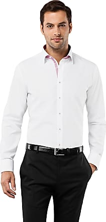 Vincenzo Boretti Mens Shirt Slim-fit Fitted Classic Design Plain Solid Colour 100% Cotton Non-Iron Long-Sleeve Designer Shirts for Men Formal Office Wedding Ideal with