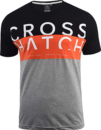 Crosshatch Mens T-Shirt Crew Neck Diag Contrast Top Tee(XL,Black/Reds)