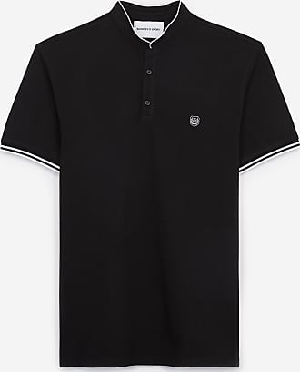 The Kooples Slim black cotton polo shirt w/officer collar - MEN