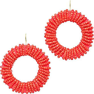 Tinna Jewelry Brinco Dourado Roda Bordada (Vermelho)