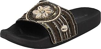 Spot On Ladies Open Toe Summer Mule - Black Synthetic - UK Size 8 - EU Size 41 - US Size 10