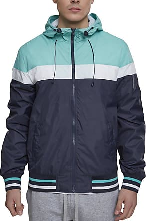 Urban Classics Mens College Windrunner Jacket, Multicoloured (Navy/Mint/White 01384), XL