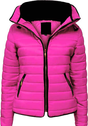 Parsa Fashions Malaika Ladies Quilted Padded Puffer Bubble Fur Collar Warm Thick Womens Jacket Coat - Avaiable in PLUS SIZES (Extra Small to XXL) (5XL, Cerise)