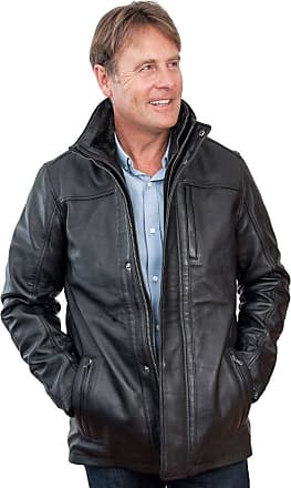 Infinity Mens Mid Length Classic Warm Black Leather Jacket 3XL