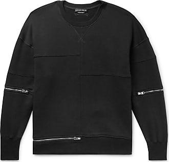Alexander McQueen Zip-detailed Shell-panelled Fleece-back Cotton-jersey Sweatshirt - Black