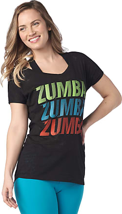 Zumba Loose Fitting Dance Fitness Graphic Tees Athletic Workout Top for Women, Bold Black 13, S
