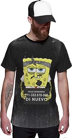 Di Nuevo Camiseta Bob Esponja Preso Masculina Preta