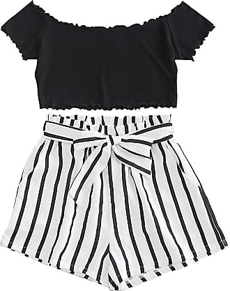 Zaful Womens Two Piece Outfit Off Shoulder Crop Top and Striped Shorts Set - Black - S