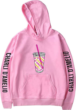OLIPHEE Womens Hoodie Long Sleeves Fashion Girls Pullover Printed Inspired The Hype House Charli DAmelio Casual Fun Sweatshirt icecoffee Pink 2XS