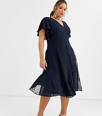 Asos Curve ASOS DESIGN Curve midi dress with lace godet panels-Navy