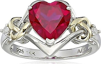 Amazon Collection Sterling Silver and 14k Yellow Gold Diamond and Heart-Shaped Created Ruby Ring (0.03 cttw, I-J Color, I3 Clarity), Size 5