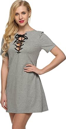 Zeagoo Womens Summer Casual Mini Dress Slim Fit Front Lace Up T-Shirt Short Dresses Gray