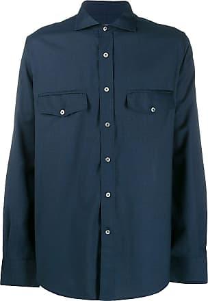 Canali Camisa com bolso no busto - Azul