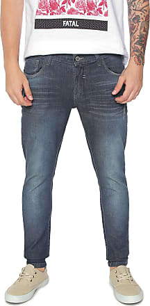 Fatal Surf Calça Jeans Fatal Surf Skinny Pespontos Azul