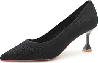 NOADream Women Pointed Toe High Heels Slip-on Shallow Shoes Spring Autumn Pumps Party Thin Heel Courts Shoes Black