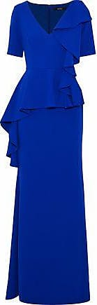 Badgley Mischka Badgley Mischka Woman Ruffled Cady Peplum Gown Royal Blue Size 4