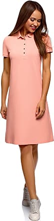 oodji Collection Womens Pique Polo Dress, Pink, UK 4 / EU 34 / XXS