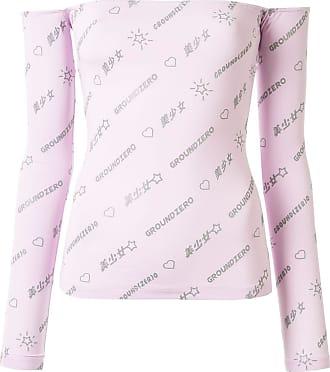 Ground-Zero Blusa ombro a ombro com estampa de logo - Rosa