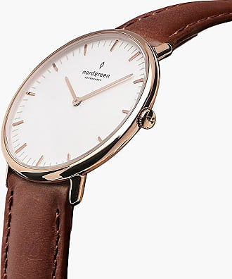 Nordgreen Native - Rose Gold | Brown Leather - 36mm / Rose Gold