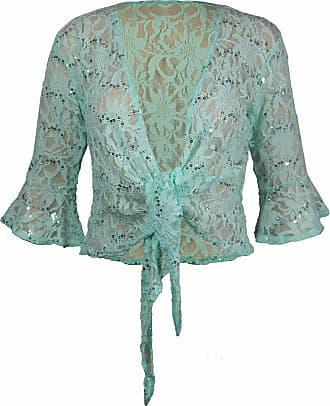 Purple Hanger New Womens Floral Lace 3/4 Three Quarter Short Sleeve Ladies Front Tie Up Sequin Shrug Bolero Stretch Cropped Top Cardigan Plus Size Light Green Size