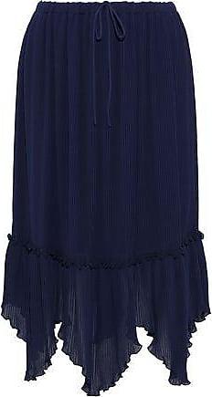 1114877b5a2e0 See By Chloé See By Chloé Woman Asymmetric Plissé-chiffon Midi Skirt Navy Size  38