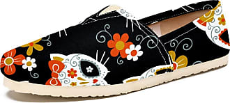 Tizorax Sugar Skull Cat and Fox Mens Slip on Loafers Shoes Casual Canvas Flat Boat Shoe
