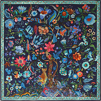 Salvatore Ferragamo Women Tree of Life print silk scarf Blue