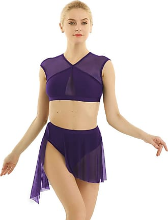 TiaoBug 2 Pieces Women Mesh Asymmetric Contemporary Lyrical Dance Crop Top with Short Skirt Dance Dress Costume Purple X-Small