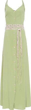 Market 33 Vestido Longo Com Cinto Macramê - Verde