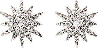 Kenneth Jay Lane Par de brincos Starburst prateados com cristais