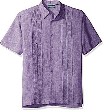1535f744b5 Cubavera Mens Short Sleeve 100% Linen Cross-Dyed Shirt with Embroidered  Tucks