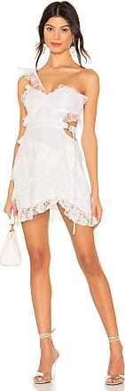 For Love & Lemons Lucien One Shoulder Dress in White