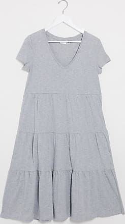 Noisy May tiered maxi smock dress in grey