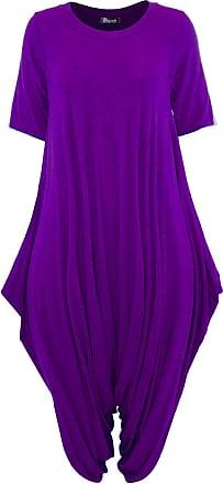 Top Fashion18 Women Short Sleeve Baggy Legenlook Hareem Jumpsuit Dress Purple
