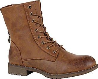 74c2a60e54149d Stiefelparadies Bequeme Damen Schnürstiefeletten Gefütterte Stiefeletten  Stiefel Schuhe 150111 Braun Brooklyn Brown 36 Flandell
