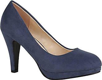 836caf41450345 Stiefelparadies Elegante Klassische Damen Schuhe Pumps Glitzer Abendschuhe  155904 Dunkelblau Camargo 38 Flandell