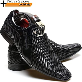 Calvest Sapato Social Masculino Calvest em Couro Tressê ALP- Preto 2320C829-43