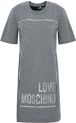 18aaed43e45 Love Moschino Love Moschino Woman Printed French Cotton-blend Terry Mini  Dress Gray Size 40