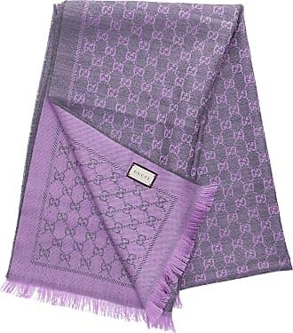 623b4185ffccc Gucci Schal 3G200 Baumwolle Gucci Logo lila grau