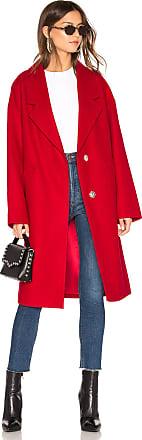 Kendall + Kylie Wool Overcoat in Red