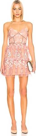 Self Portrait Floral Embellished Mini Dress in Pink
